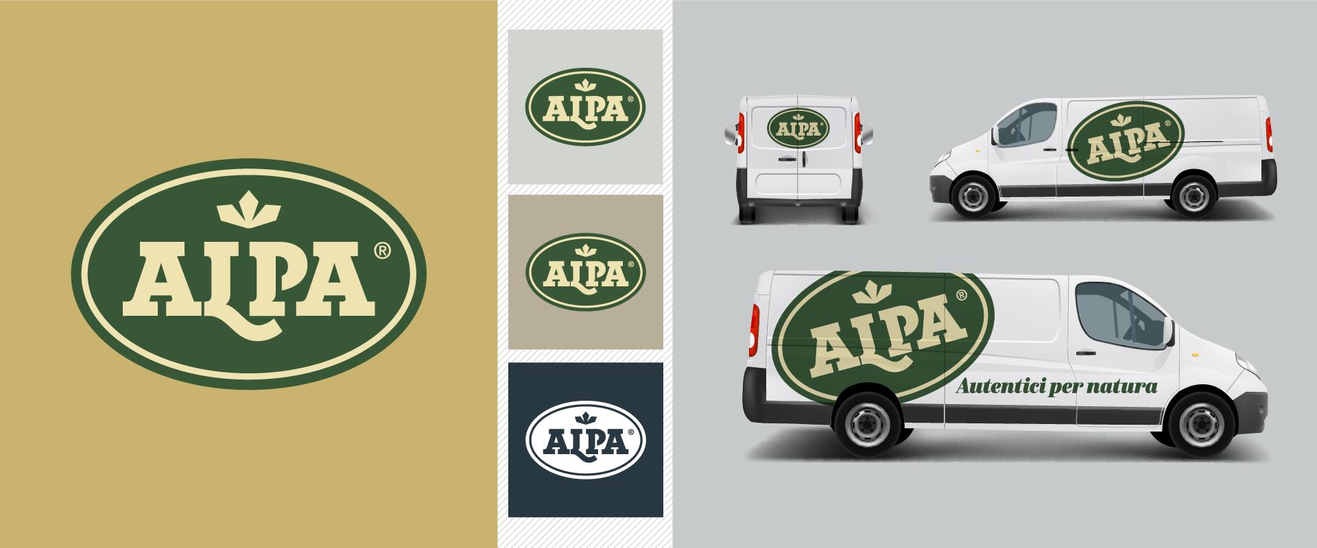Corporate identity Alpa, logotype e personalizzazione veicolo aziendale