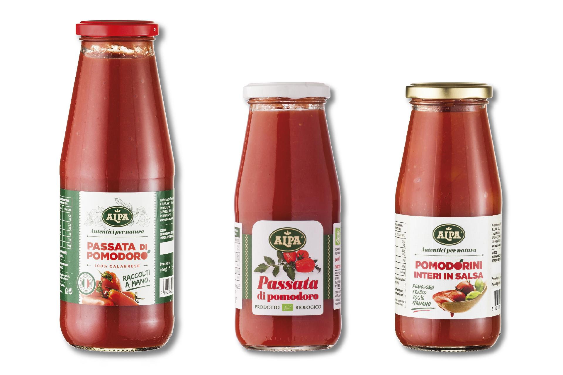 Packaging passate di pomodoro bio
