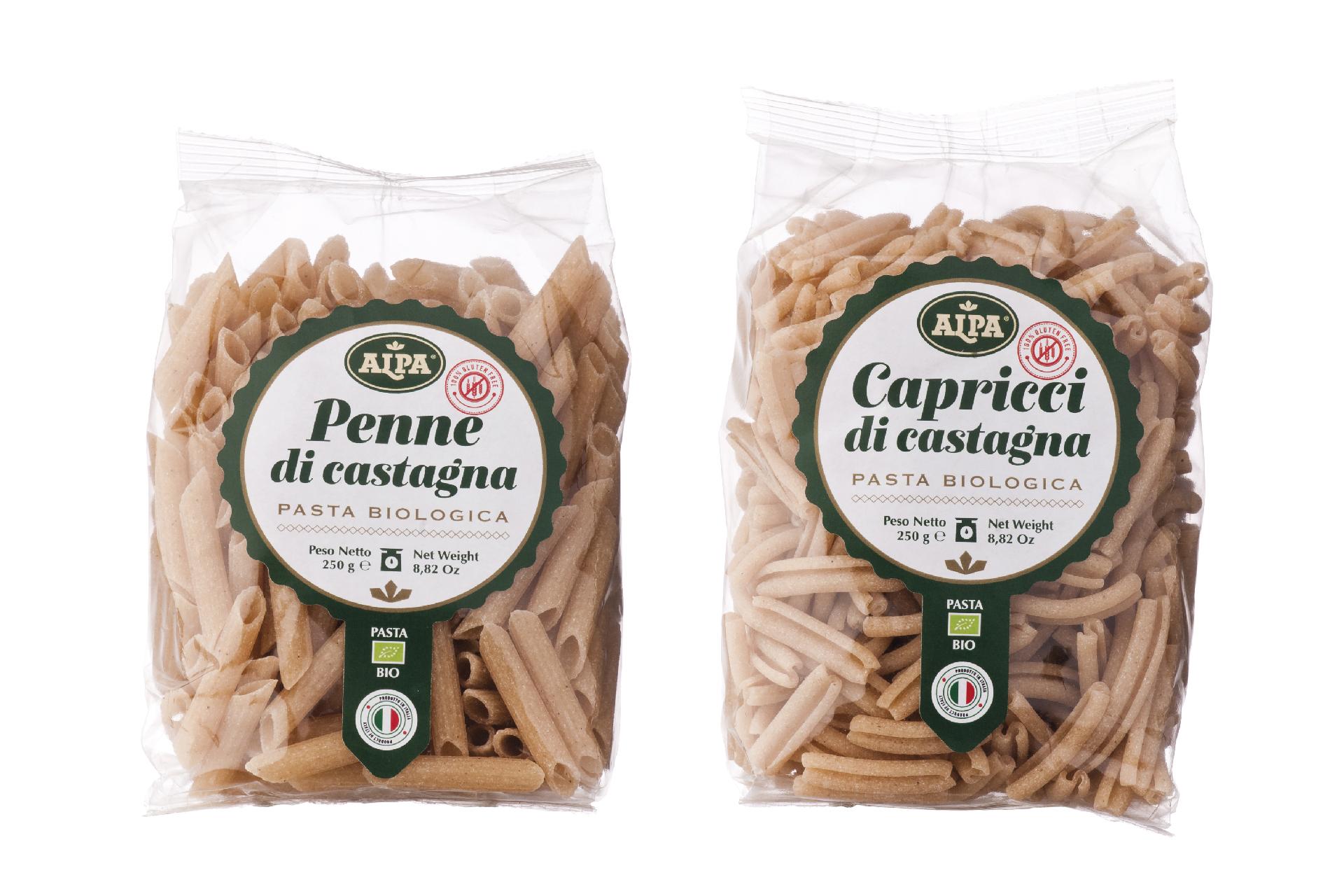 packaging pasta di castagne biologica
