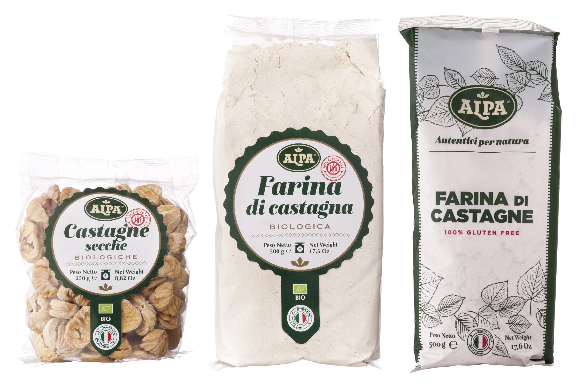 Packaging castagne e farine bio
