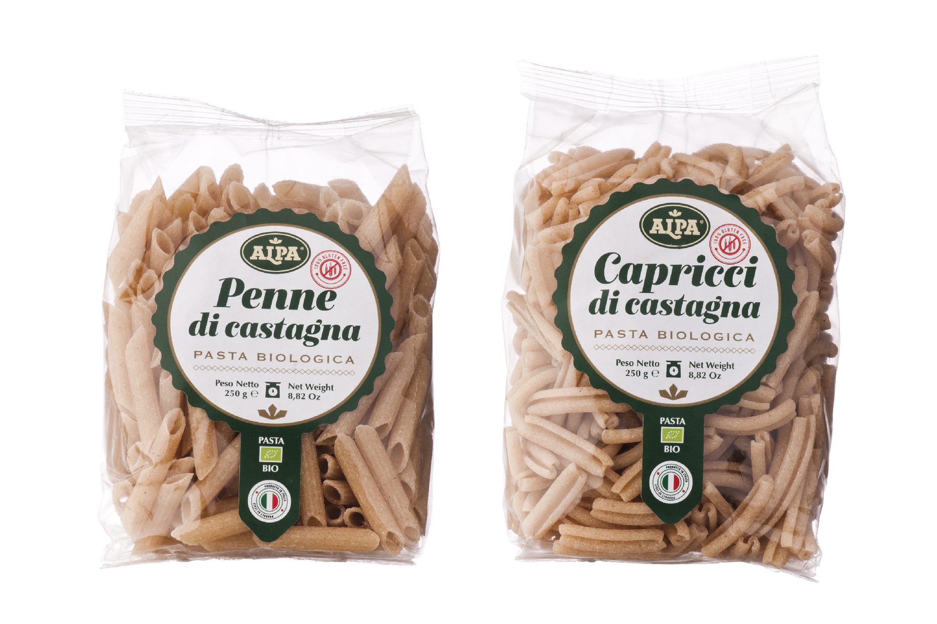 packaging pasta di castagne biologica