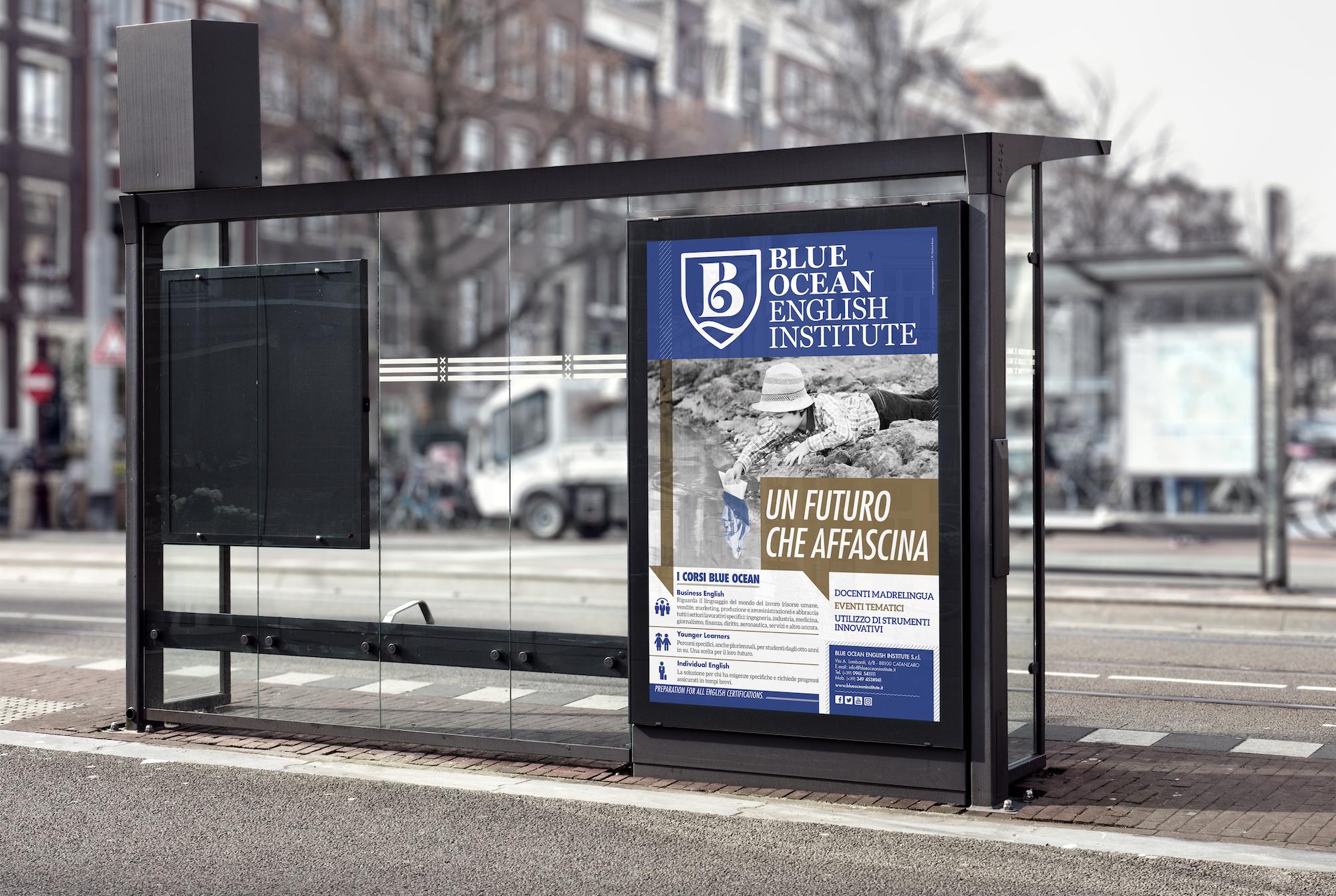 Campagna Advertising Un futuro che affascina Blue Ocean English Institute paline autobus