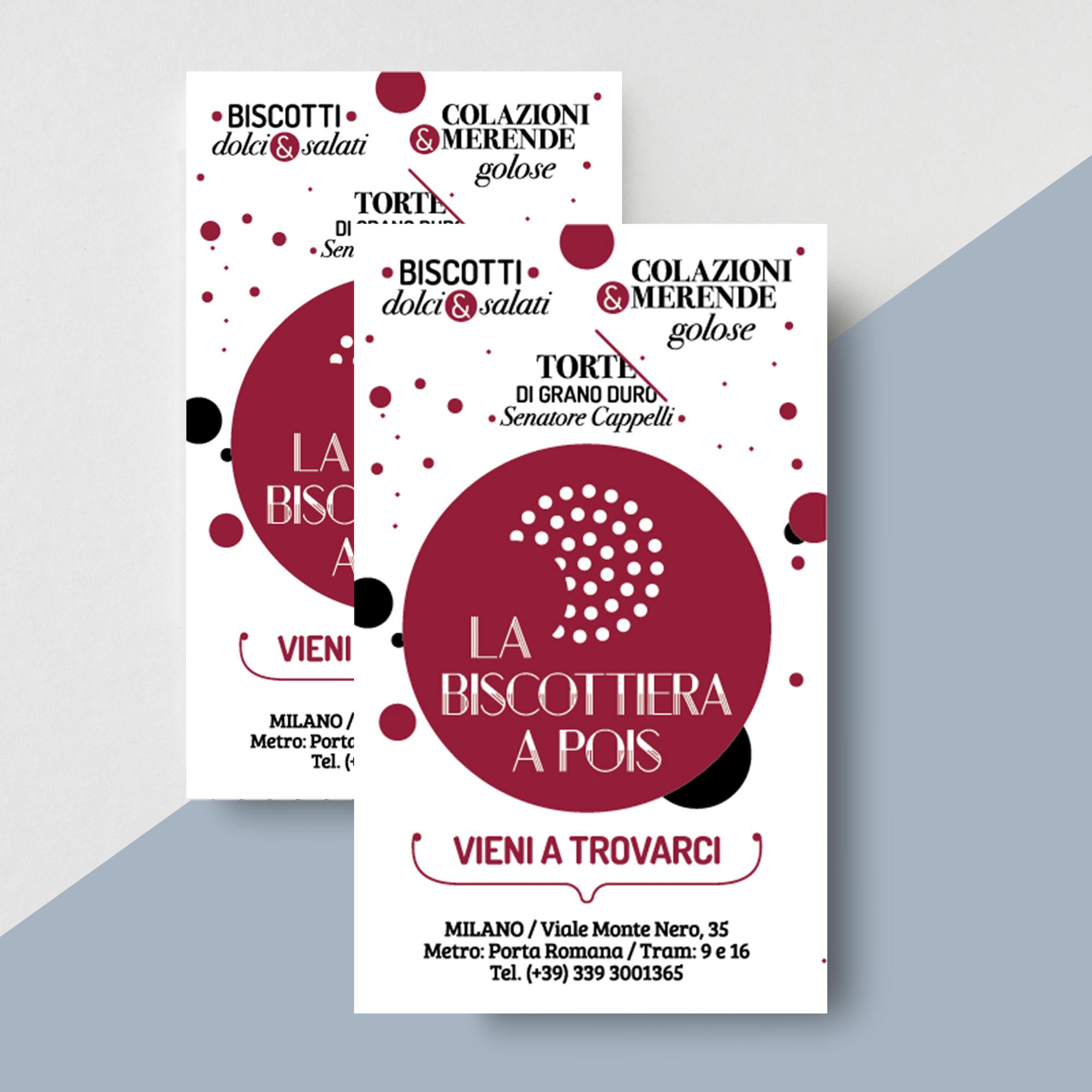 Flyer comunicazione apertura punto vendita biscottiera a pois Milano